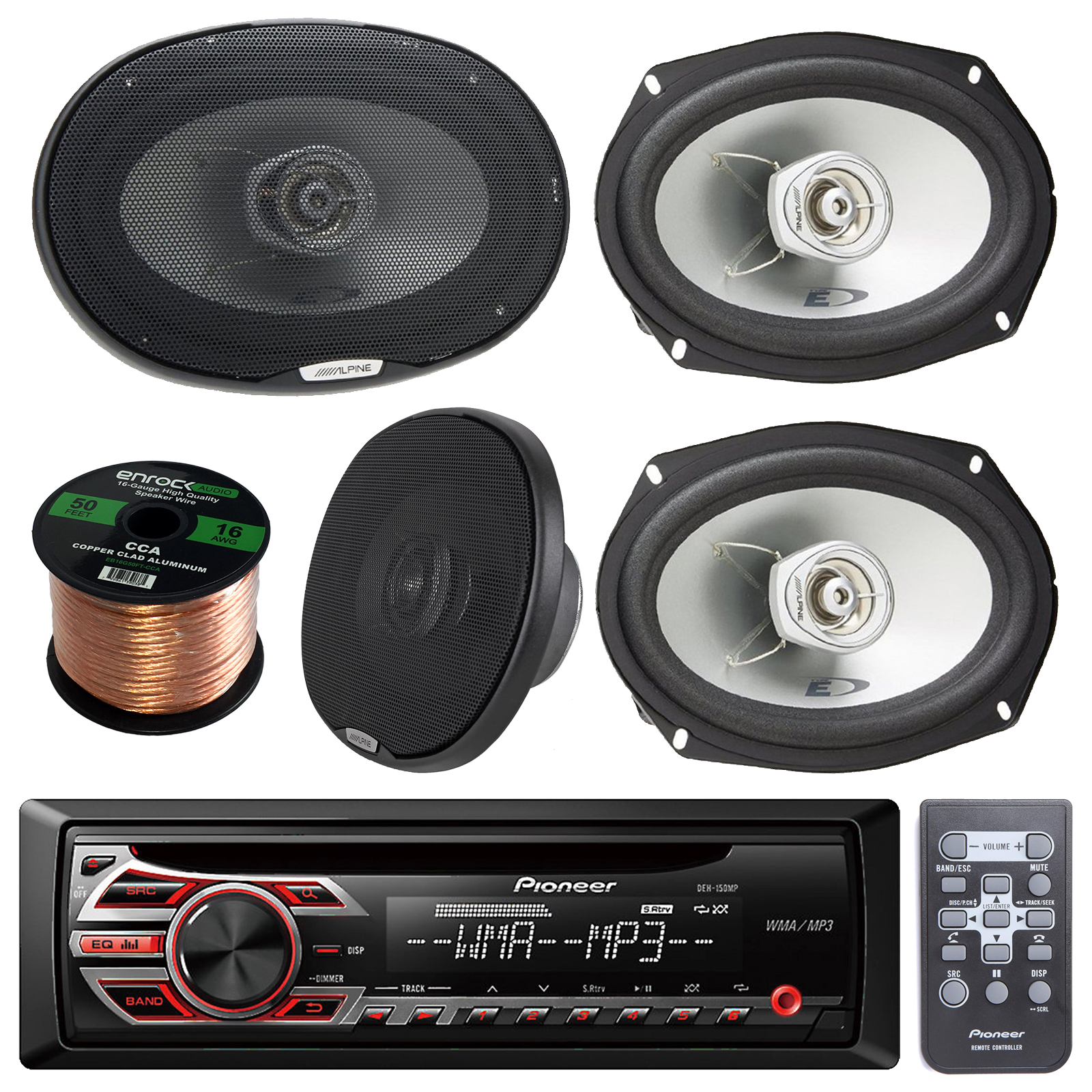 Pioneer DEH-150MP Single DIN Car Stereo Bundle With 2 Set...