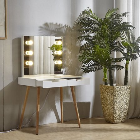Organizedlife Vanity Table Dressing Desk with 2 Makeup Drawers Dressing Mirror With LED light ,White ()
