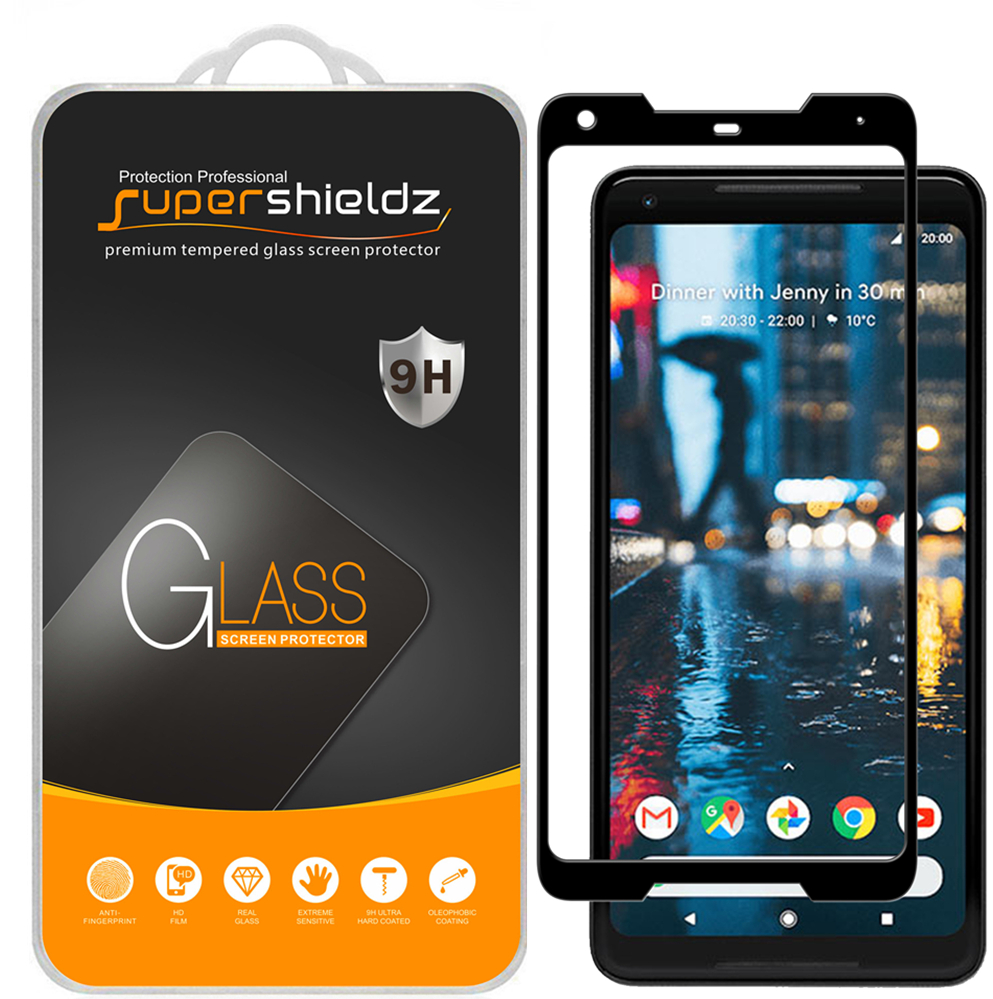 [2-Pack] Supershieldz for Google Pixel 2 XL [Full Screen Coverage] [3D Curved Glass] Tempered Glass Screen Protector, Anti-Scratch, Anti-Fingerprint, Bubble Free (Black Frame)