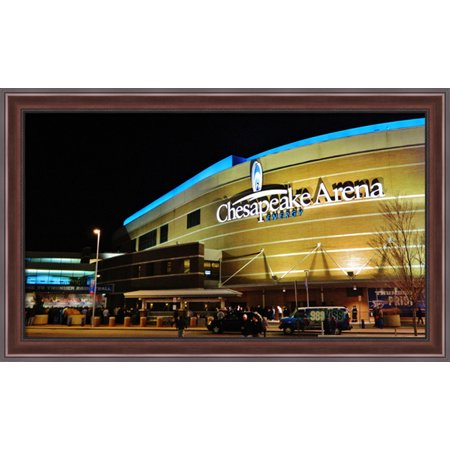 Chesapeake Energy Arena 40X24 Large Walnut Ornate Wood Framed Canvas Art   Home Of The Oklahoma City Thunder