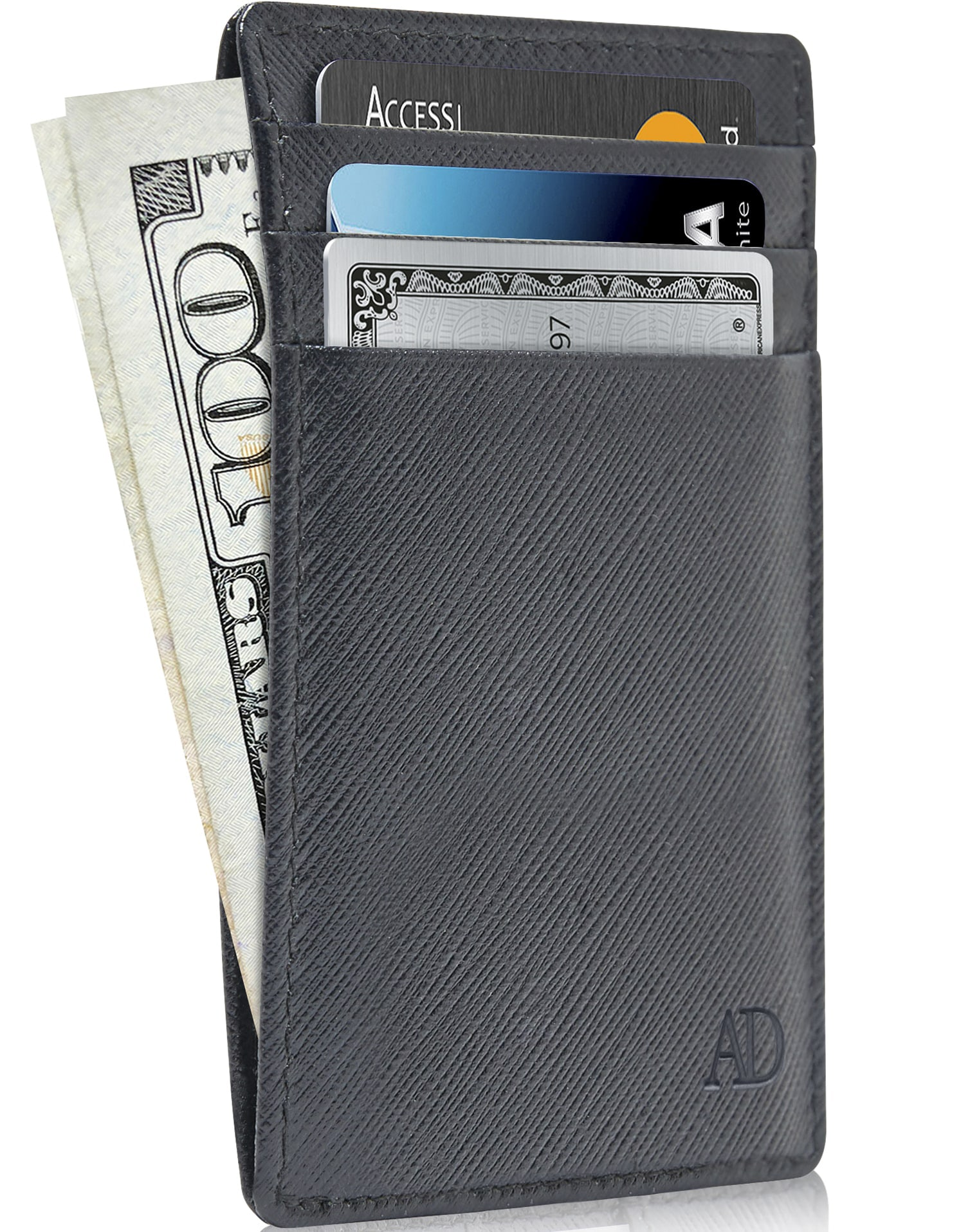 New HQ Real Leather 12 Credit Card Holder Wallet Black Available in Gift Box