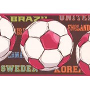 Wallpaper Border - Red and White Soccer Ball Brown Wall Border for Kids Teens, Roll 15 ft X 9 in