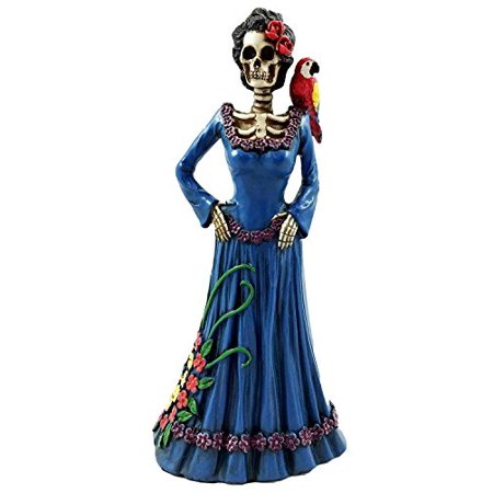 Day Of The Dead Lady In Blue With Scarlet Macaw Parrot Skeleton Figurine Sculpture - Parrot Skeleton
