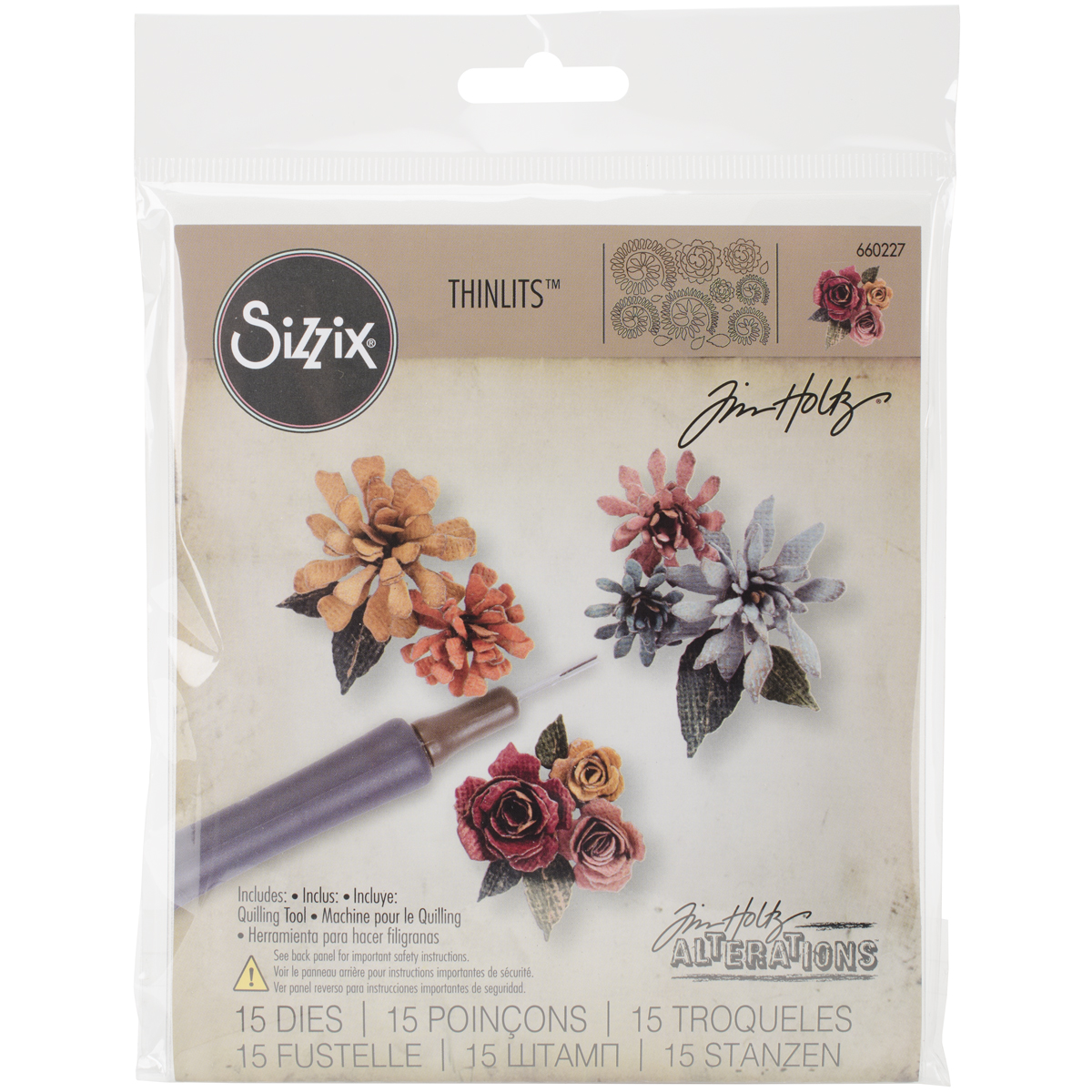 Sizzix Thinlits Dies By Tim Holtz 15/Pkg Tiny Tattered Florals