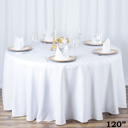 120' Round Quality Tablecloths (Efavormart Premium Heavy Duty Round Polyester Tablecloth -Wrinkle Resistant for Kitchen Dining Catering Wedding Birthday Party)
