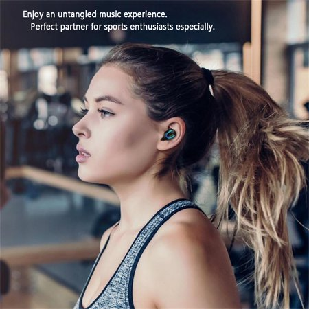 Stereo Wireless Bluetooth Earbud. Sweatproof Headset . Built-in Mic for Android and iPhone Smart Phones.(with Charging Case) - image 8 of 17
