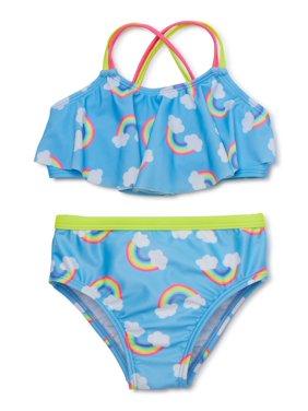 Wonder Nation Baby Toddler Girl Rainbow Bikini Swimsuit