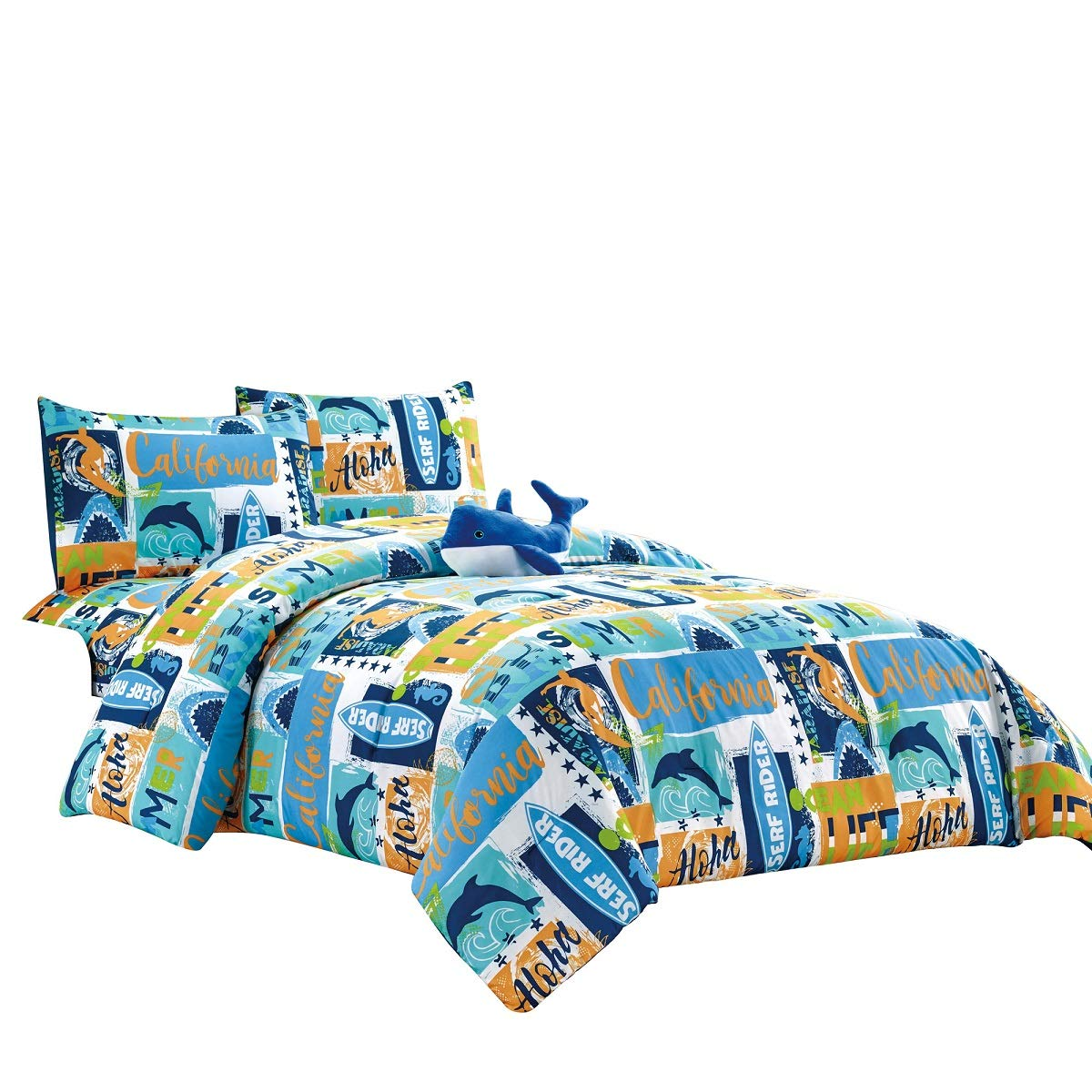 WPM Kids Collection Bedding 4 Piece Blue Ocean Life Twin Size Comforter Set with Sheet Pillow sham and Whale Toy Fun Sun Water surf Design Ocean Life Whale