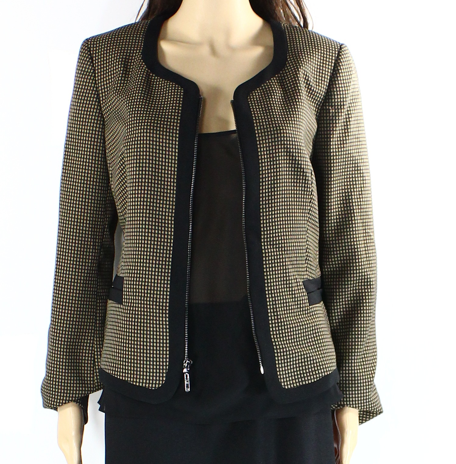 Kasper NEW Brown Black Womens Size 8 Full Front-Zip Woven Jacket