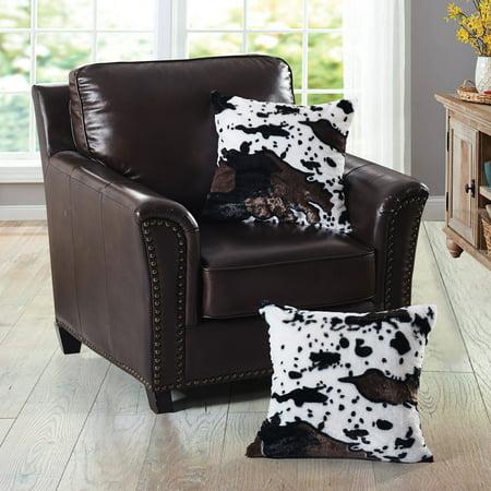 Cow Printed Faux Fur 2 Piece Throw Pillow Shams ()