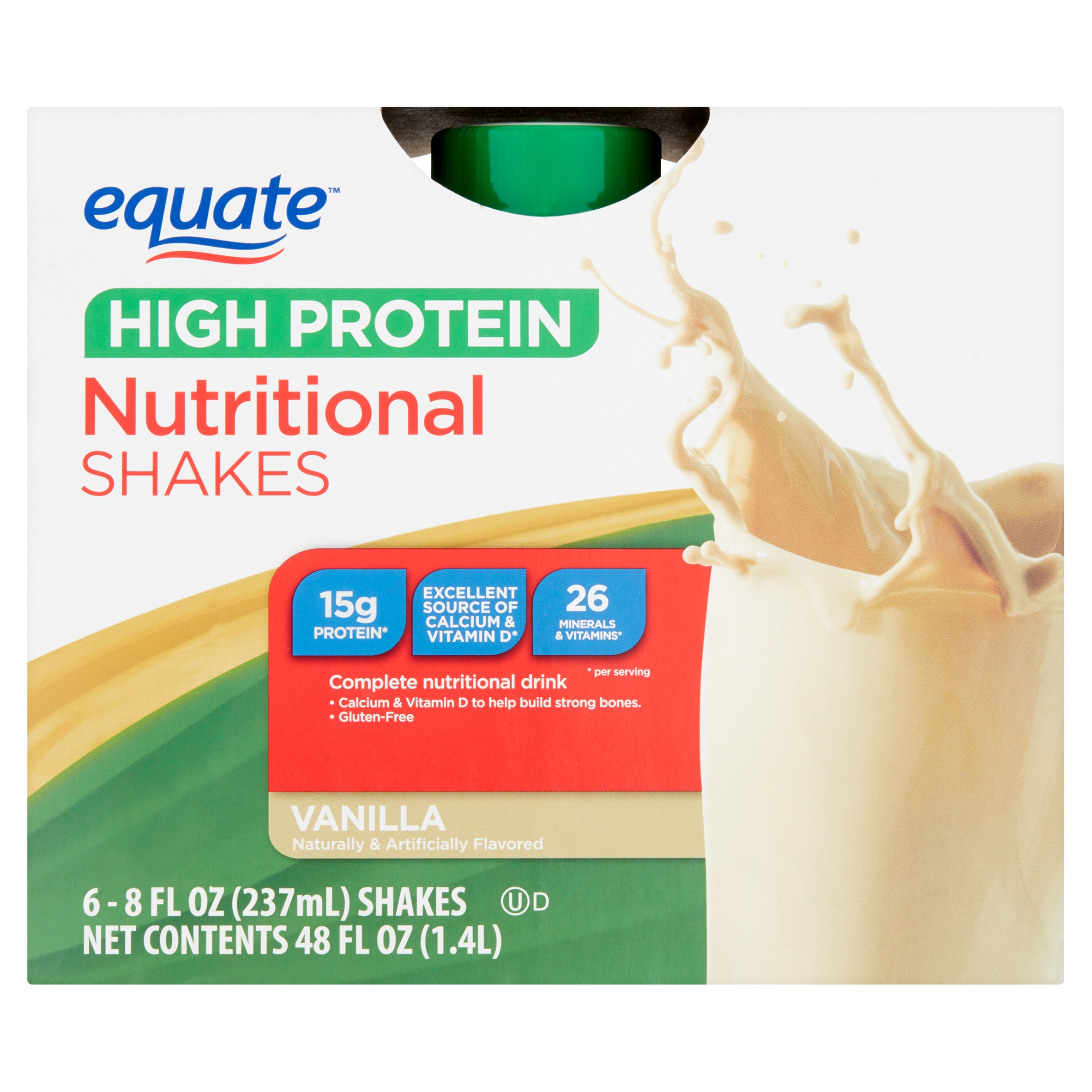 Equate High Protein Vanilla Nutritional Shakes 8 fl oz 6 count