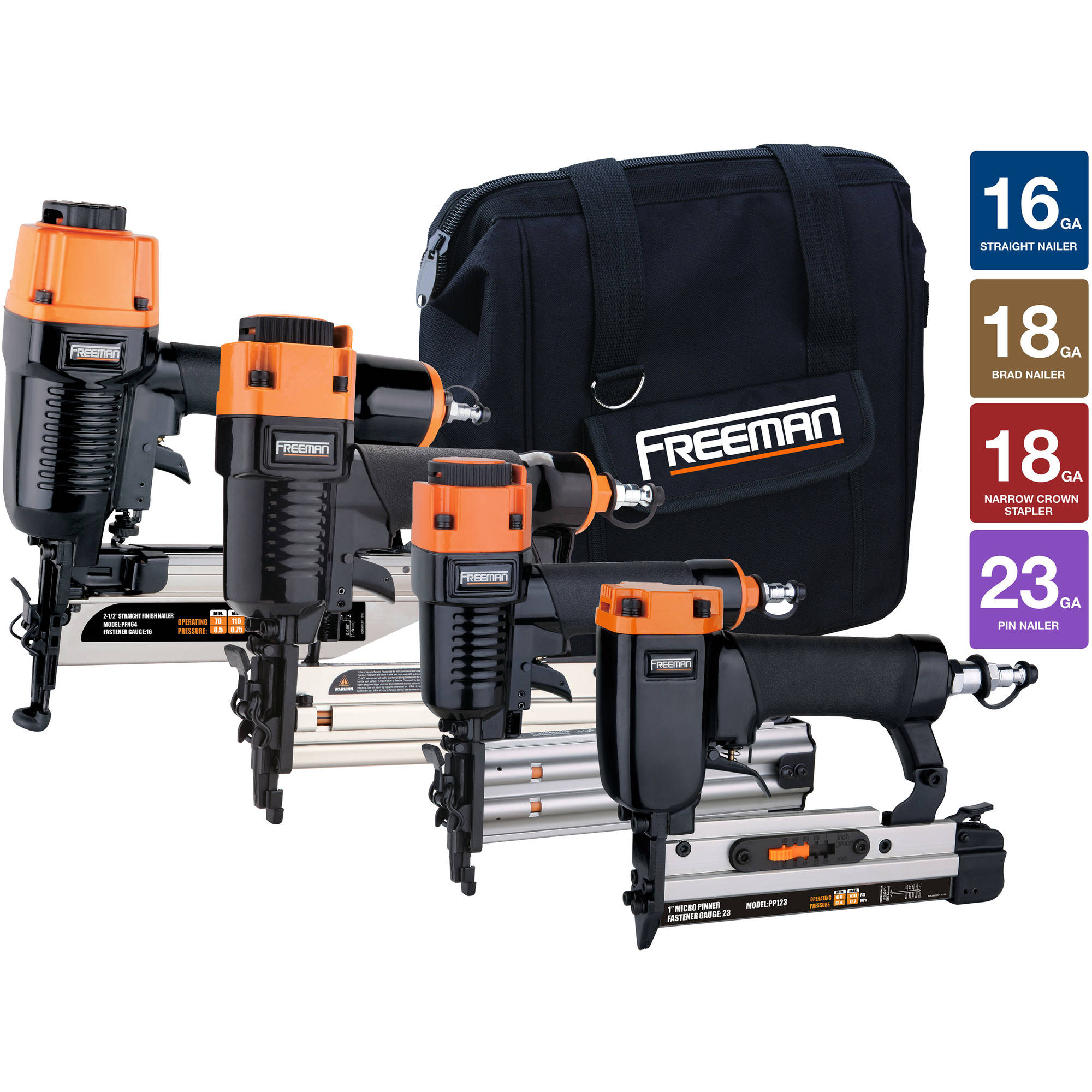 Freeman 4-Piece Finish Nailer Combo Kit with Canvas Storage Bag