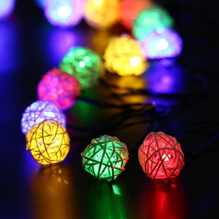 Christmas String Lights  Outdoor Indoor Solar Christmas Lights Rattan Ball Decorative Lighting For Home Garden Patio Deck  Multi Color