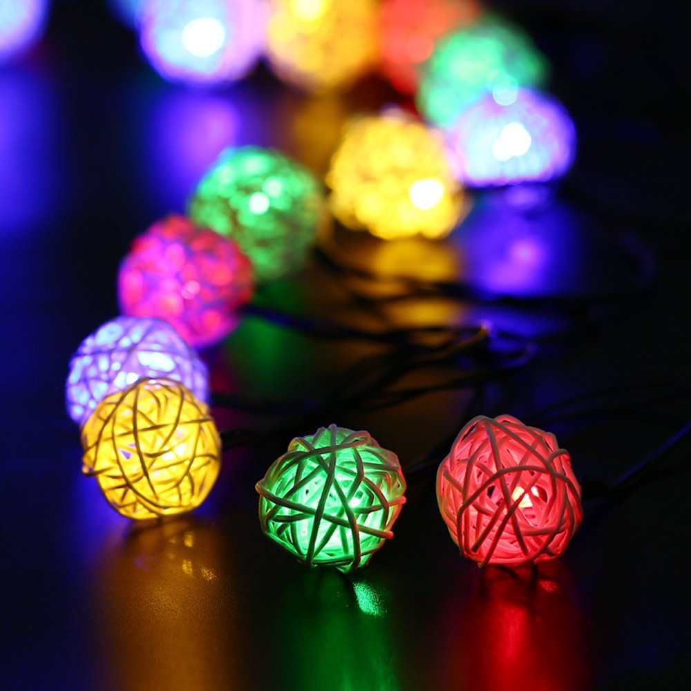 Christmas string Lights, Outdoor/Indoor Solar Christmas Lights Rattan Ball Decorative Lighting for Home,Garden,Patio,Deck (Multi Color)