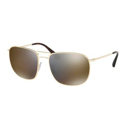 Prada 0PR 52TS Full Rim Pillow Unisex Sunglasses - Size 60 (Dark Grey Mirror Gold)