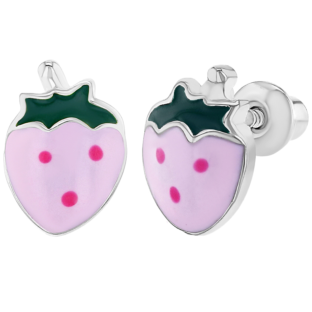 Rhodium Plated Screw Back Pink Enamel Strawberry Earrings for Girls - image 6 of 6