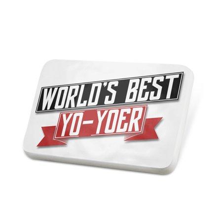 Porcelein Pin Worlds Best Yo-yoer Lapel Badge – (Best Yo Yos In The World)