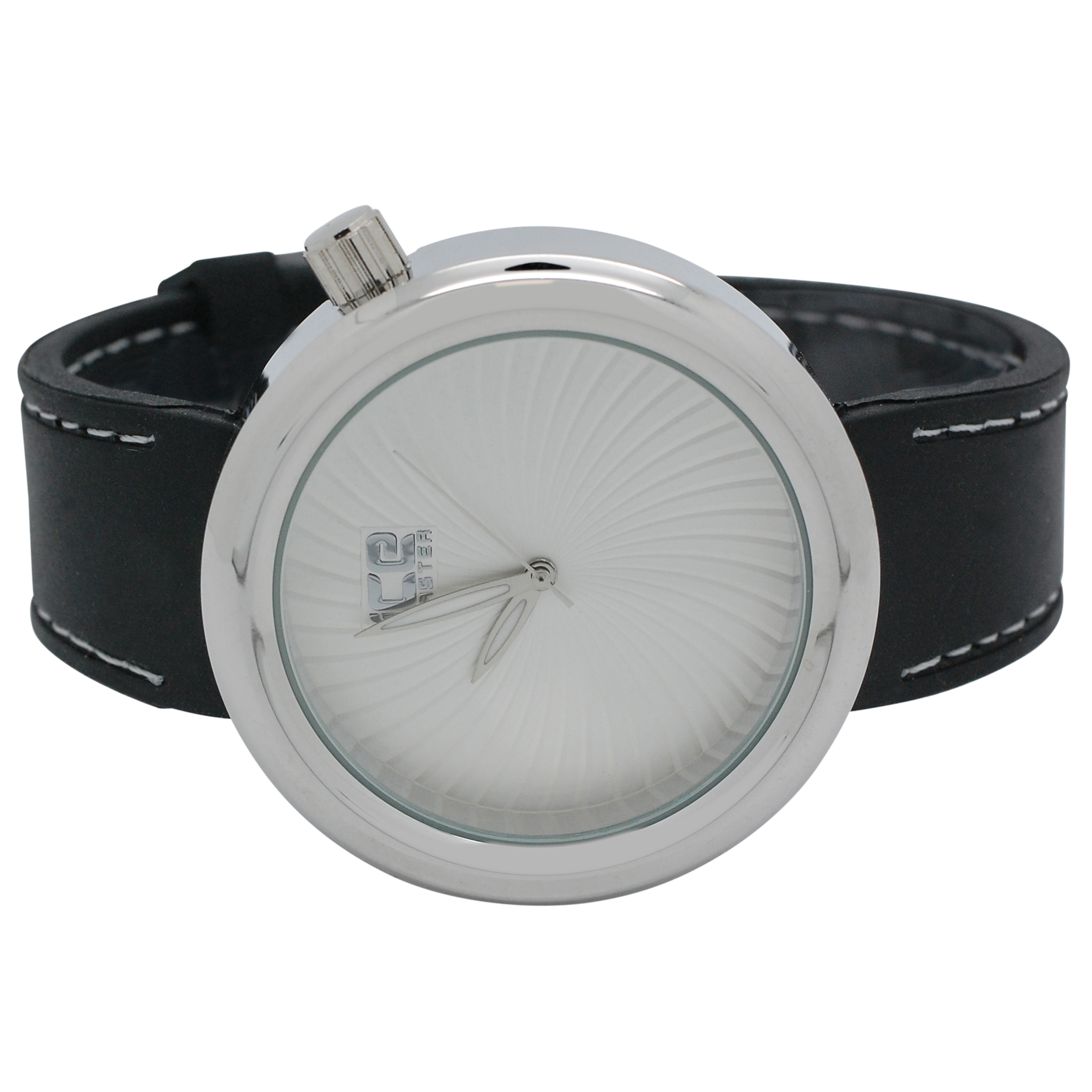Mens Techno Ice Master Full Wavy Swirl Silver Dial with Black Band Watch