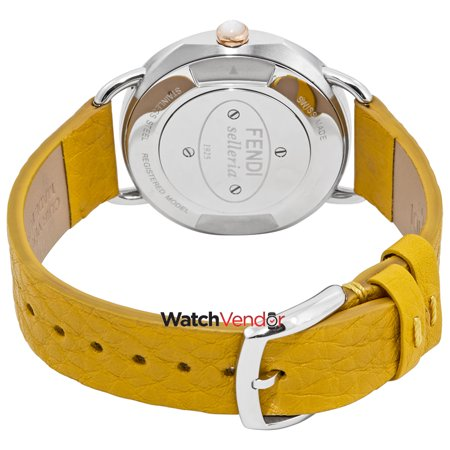 36ebf31278ff Fendi Selleria Mother of Pearl Dial Ladies Yellow Leather Watch  F8022345H0-YL - image 1 ...
