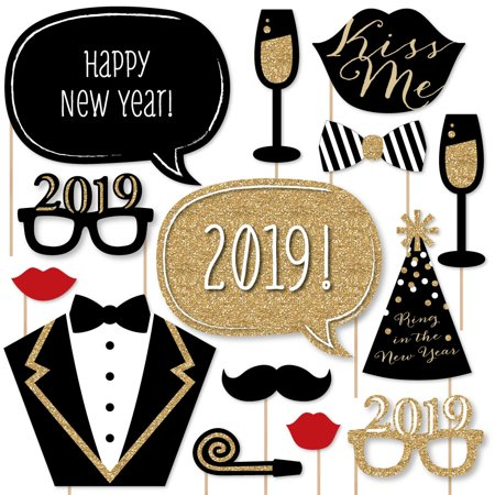 New Years Eve Party - Gold - 2019 New Year's Photo Booth Props Kit - 20 Count