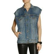 R13 Women's Contrast Stitching Faded Oversized Denim Vest X-Small Blue
