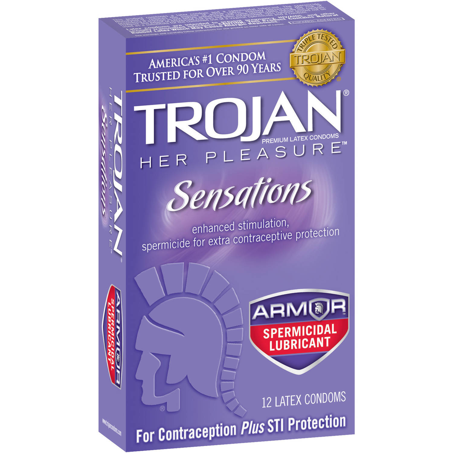 Trojan Her Pleasure Sensations Premium Latex Condoms, 12 count