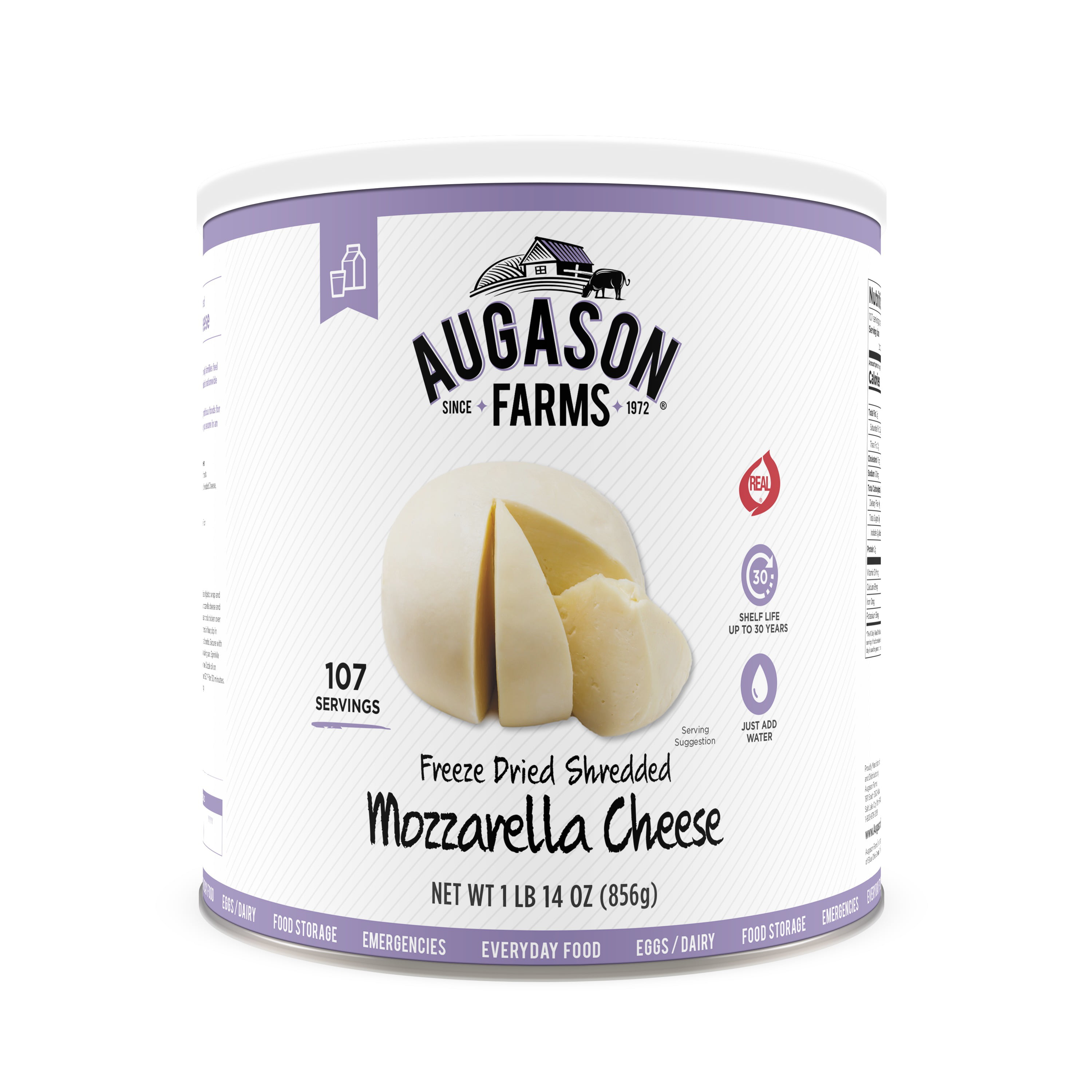 Augason Farms Freeze Dried Shredded Mozzarella Cheese 1 lb 14 oz No. 10 Can by Blue Chip Group
