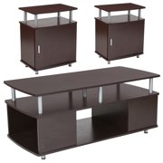 Markham Collection Flash Furniture 3 Piece Coffee and End Table Set in Espresso Wood Finish