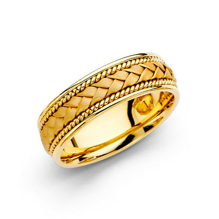 14k Yellow Gold Design Band (Solid 14k Yellow Gold Band Wedding Ring Rope Braided Design Comfort Fit Satin Style Men Women 6)