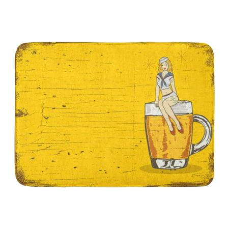 GODPOK Pinup Navy Pin of Sailor Girl Sitting on Glass Cold Beer Vintage Bar Rug Doormat Bath Mat 23.6x15.7 inch