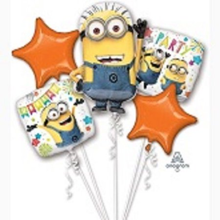 Despicable Me Minion Birthday Party Foil Balloon Bouquet - 5 Piece (Balloons Price)