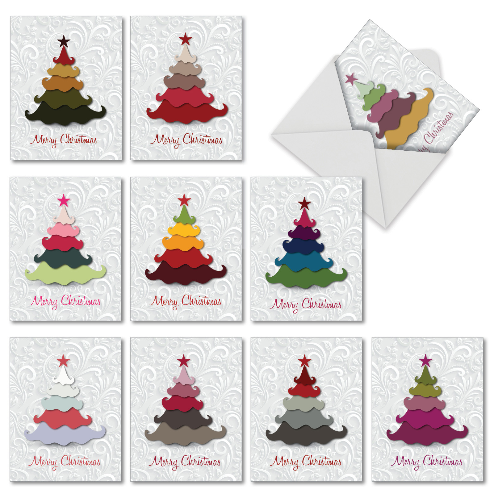 Christmas Tree Colour Schemes 2014: 'm2939xsb Holiday Hues' 10 Assorted Merry Christmas Cards