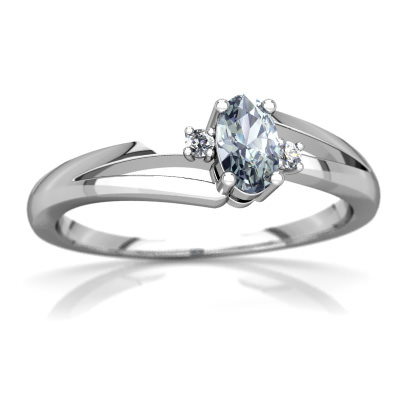 Aquamarine Sweet and Petite Ring in 14K White Gold by