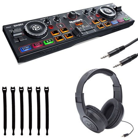 Numark DJ2GO2 | Pocket DJ Controller with Audio Interface + Samson Headphones + Stereo Interconnect Cable + Strapeez - Top Value Bundle