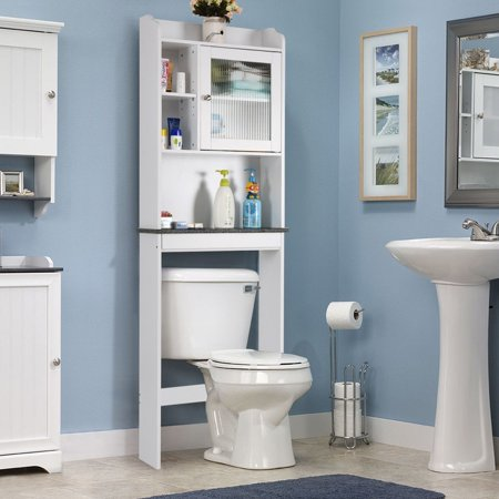 Space saver white over the toilet cabinet - Old fashioned bathroom furniture ...