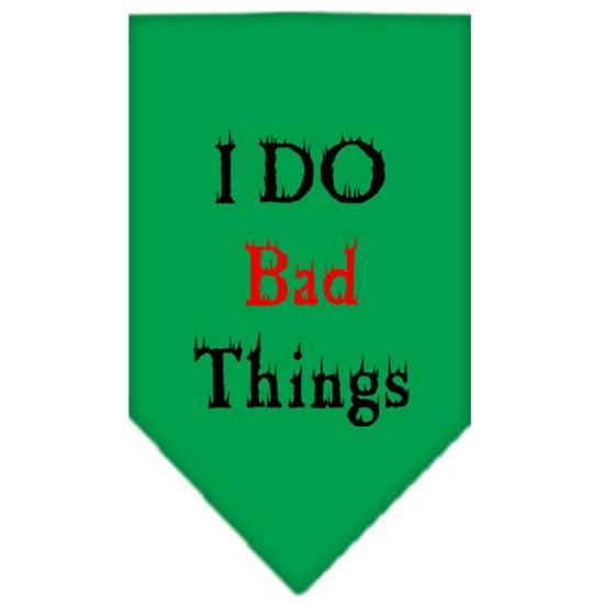 I Do Bad Things  Screen Print Bandana Emerald Green Large
