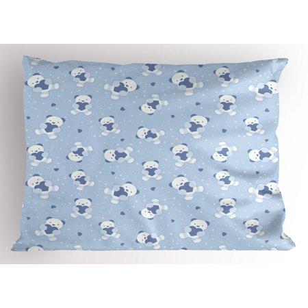 Teddy Bear Themed Baby Shower (Boy's Pillow Sham Teddy Bears on Blue Backdrop Holding Hearts Baby Shower Theme Toddler, Decorative Standard King Size Printed Pillowcase, 36 X 20 Inches, Baby Blue Cadet Blue White, by)