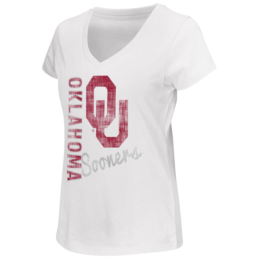 Womens Oklahoma Sooners V-Neck Short Sleeve Tee Shirt by Colosseum