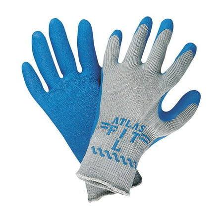Best Glove 300XXL-11 Size 11 Atlas Fit 300 10 Gauge Light Weight Abrasion Resistant Blue Natural Rubber Palm Coated Work Gloves With Light Gray Cotton And Polyester.., By (Natural Rubber Palm Gloves)