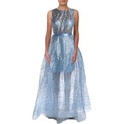 Betsy & Adam Womens Elsa Beaded Glitter Formal Dress