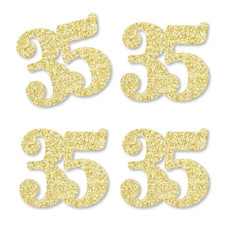 Gold Glitter 35 - No-Mess Real Gold Glitter Cut-Out Numbers - 35th Birthday Party Confetti - Set of 25