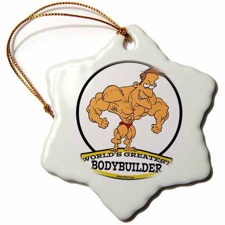 3dRose Funny Worlds Greatest Bodybuilder Men Cartoon - Snowflake Ornament, 3-inch](Funny Bodybuilder)