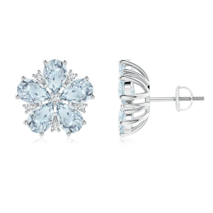 Angara Pear-Shaped Citrine and Diamond Flower Stud Earrings vdxDdqN