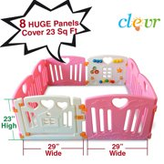 Pink Clevr 8 Large Panel Safety Baby Playard