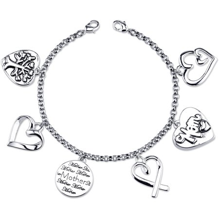 Stainless Steel Mom Charm Link Bracelet, 7.5""