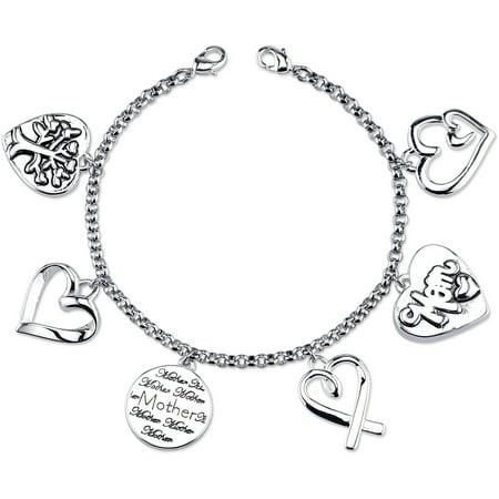Stainless Steel Mom Charm Link Bracelet, 7.5