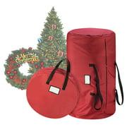 "Tiny Tim Totes Premium Red Canvas Christmas Tree Storage Bag & 30"" Inch Wreath Bag"