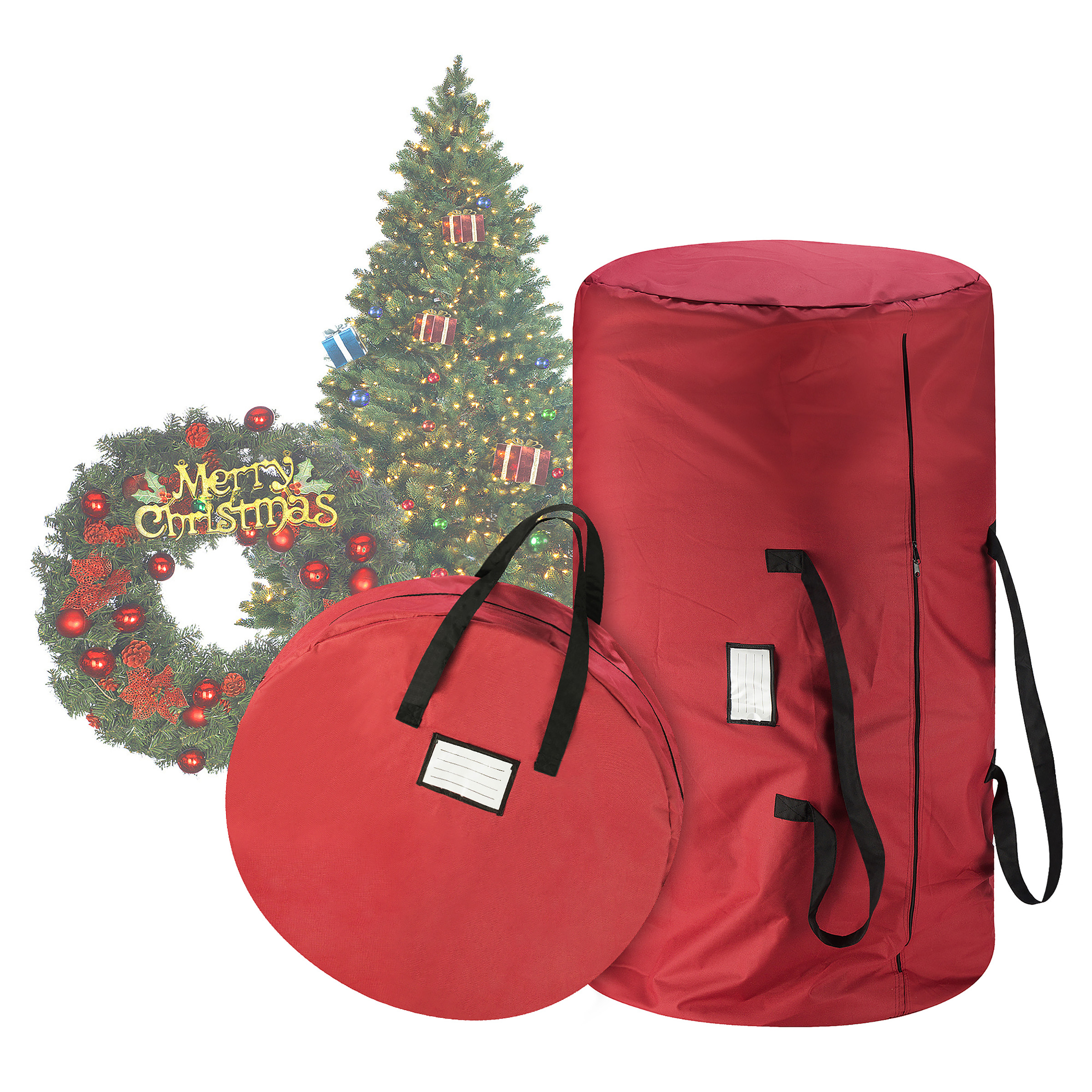 "5086 Tiny Tim Totes Premium Red Canvas Christmas Tree Storage Bag & 30"" Inch Wreath Bag"