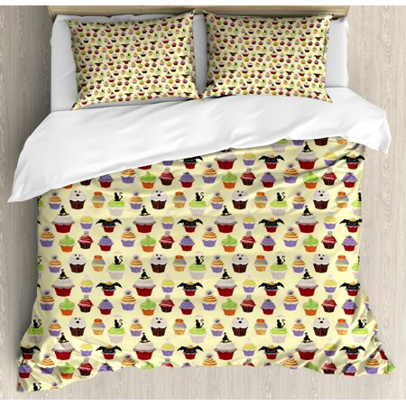 Cupcake Duvet Cover Set King Size, Halloween Themed Delicious Scary with Cat Bat Ghost Frosting Holiday Season Cakes, Decorative 3 Piece Bedding Set with 2 Pillow Shams, Multicolor, by - Halloween 3 Season Witch Trailer