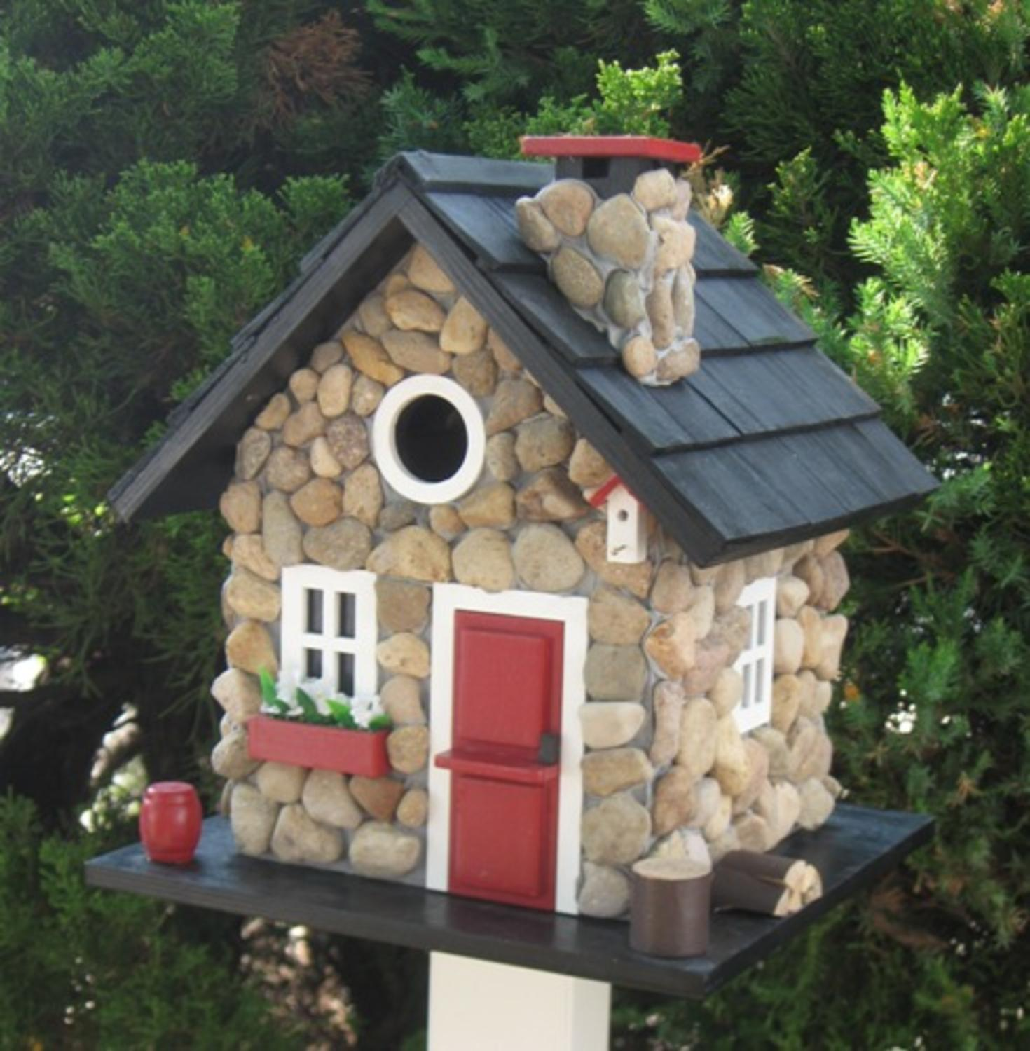 """9.5"""" Stone Cottage Red Black & White Fully Functional Outdoor Garden Birdhouse"""